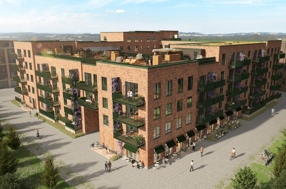 Guld DGNB-certificeret byggeri. Opgaven Fyrkanten omfatter 107 boliger, samlet areal ca. 9.509 m2, erhverv ca. 329 m2 samt kælder.