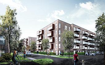 Projektet omfatter 14.300 m2 boligbyggeri, bestående af 6.300 m2 rækkehuse i op til to plan, 8000 m2 etagebyggeri i op til 5 etager samt fællesarealer og byggemodning.