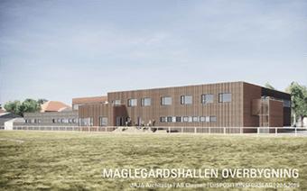 Tilbygning og ombygning af Maglegårdshallen. Byggeriet omfatter en ny overbygning på den eksisterende hal, der blandt andet skal huse multifunktionsrum, unge-lounge, fitnesslokale og behandlerrum.