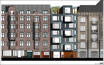 Projektet Åboulevard 53 består af ombygning af et eksisterende hus i 5 etager, hvoraf stueetagen udgør den ene.